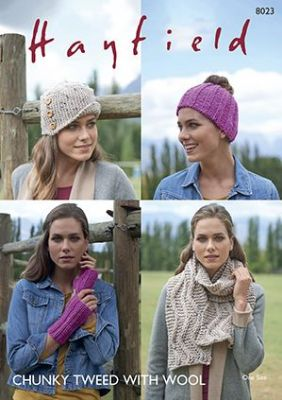 Hayfield Chunky Tweed Knitting Pattern - 8023 Chunky Accessories